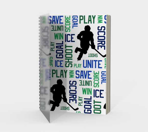 For the Love of Hockey Spiral Notebook - Blue and Green