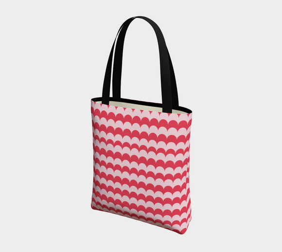 Pink Scallop Print Basic Tote