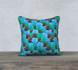 "Blue Roses Pillow Case - 18""x18"""