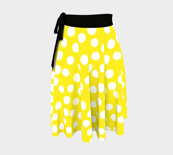 All About the Dots Wrap Skirt - Yellow