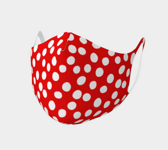 All About the Dots Double Knit Face Covering - Red