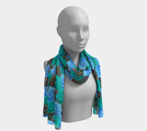 Blue Roses Long Scarf