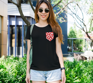 All About the Dots Pocket Women's Fitted Tee - Red