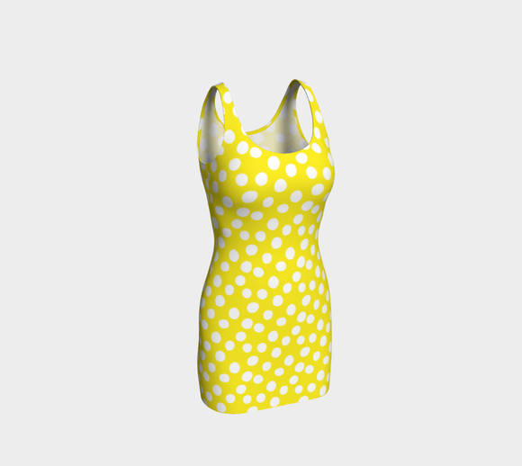 All About the Dots Bodycon Dress - Yellow