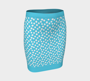 All About the Dots Fitted Skirt - Blue