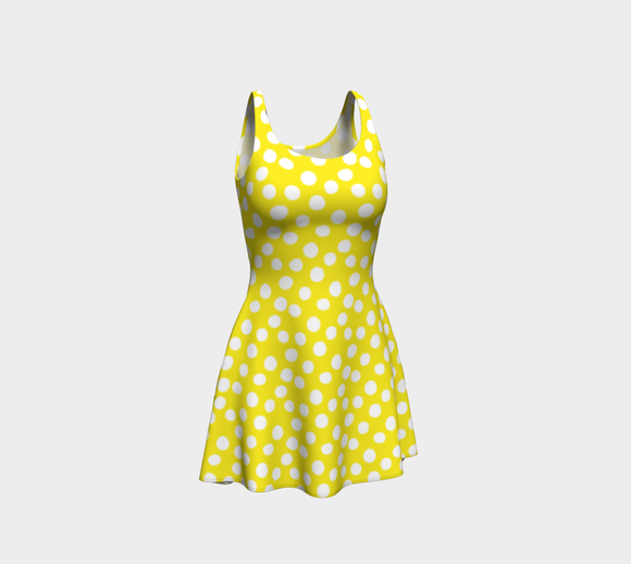 All About the Dots Flare Dress - Yellow