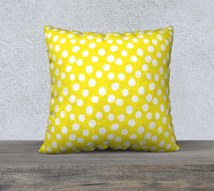 "All About the Dots Pillow Case - 22""x22"" Yellow"