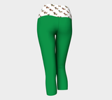 Green Yoga Capris with Dachshund Through the Snow Band