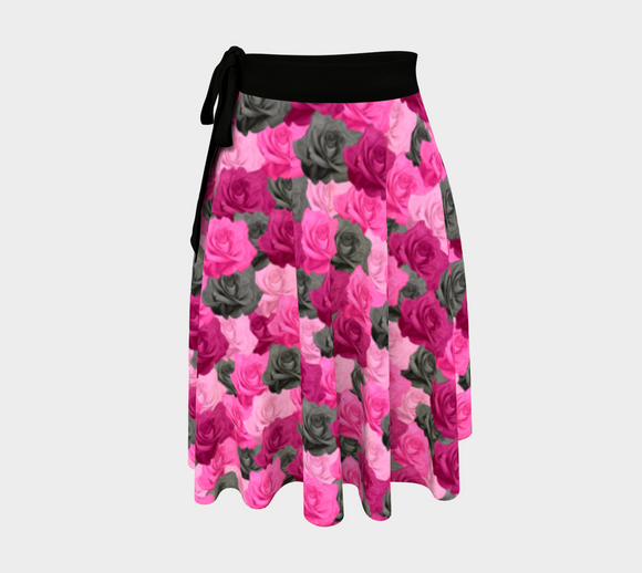 Pink Roses Wrap Skirt