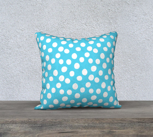 "All About the Dots Pillow Case - 18""x18"" Blue"