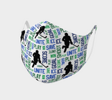 For the Love of Hockey Double Knit Face Covering - Blue & Green