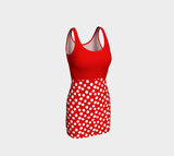All About the Dots Bodycon Dress - Red with Solid Red Bodice