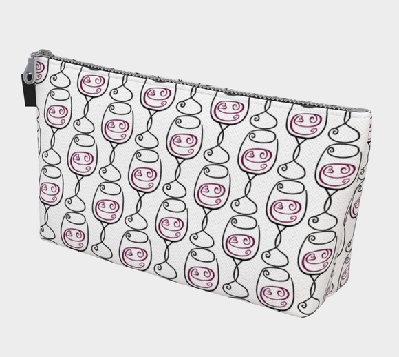 Wine is Always a Good Idea Patterned Makeup Bag