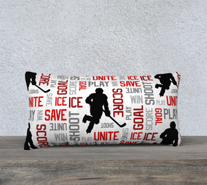 "For the Love of Hockey Pillow Case - 24""x12"" - Customizable"