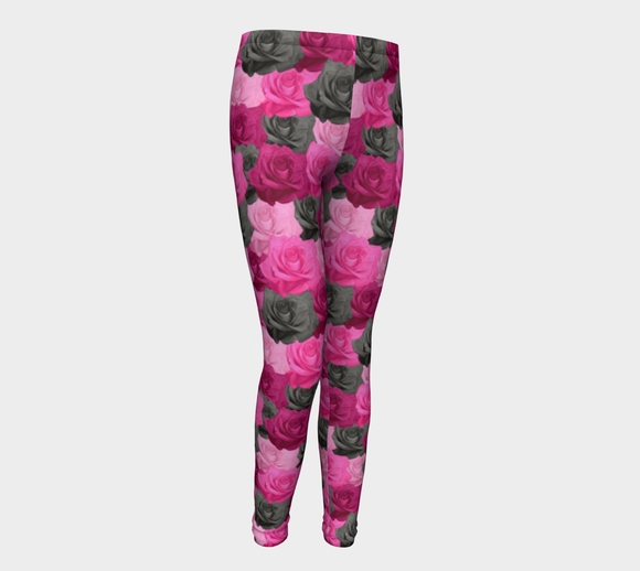 Pink Roses Youth Leggings