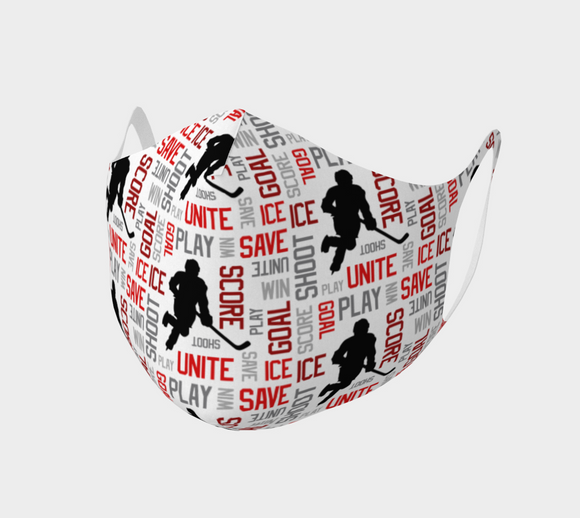 For the Love of Hockey Double Knit Face Covering - Red