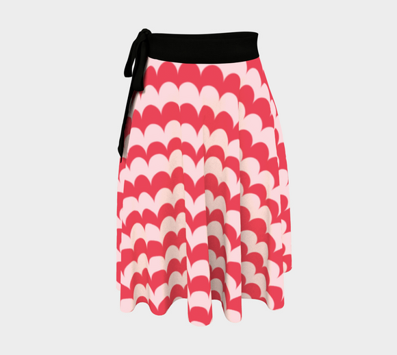 Pink Scallop Print Wrap Skirt