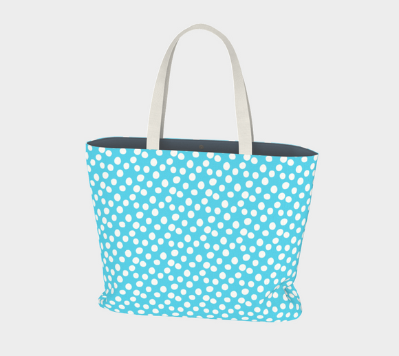 All About the Dots Market Tote - Blue