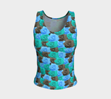 Blue Roses Fitted Tank Top (Regular)