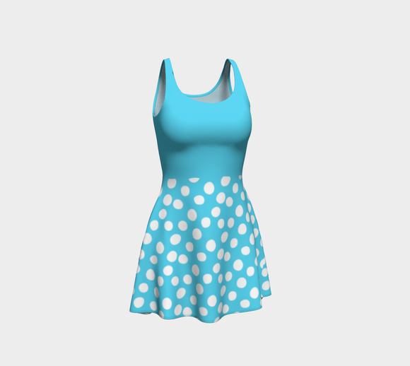 All About the Dots Flare Dress - Blue with Solid Blue Bodice