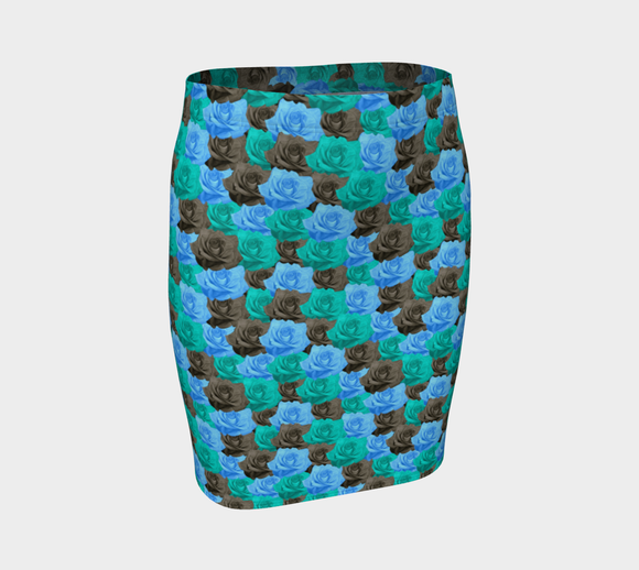 Blue Roses Fitted Skirt