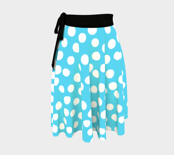 All About the Dots Wrap Skirt - Blue