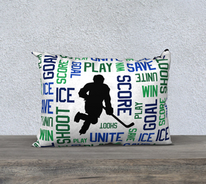 "For the Love of Hockey Pillow Case - 20""x14"" - Blue and Green"