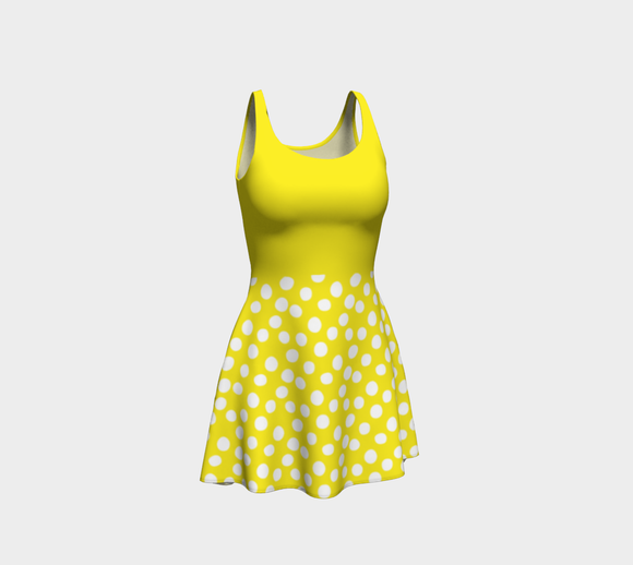All About the Dots Flare Dress - Yellow with Solid Yellow Bodice
