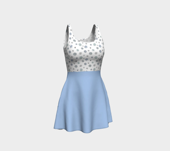 Snowflakes Flare Dress with Blue Skirt