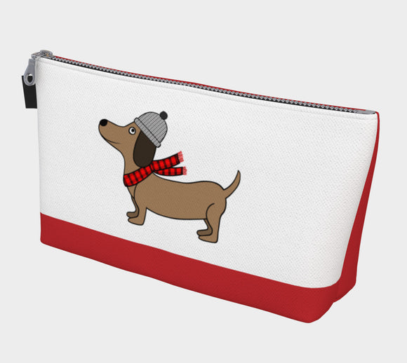 Dachshund Through the Snow Makeup Bag