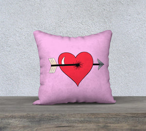 "Struck by Cupid's Arrow Pillow Case - 18""x18"""