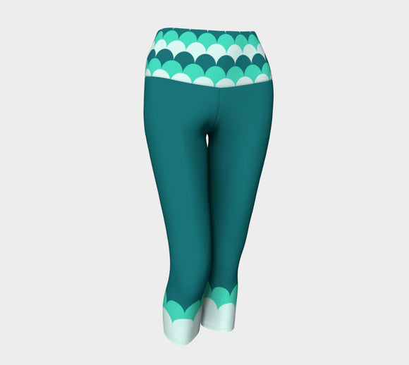 Teal Yoga Capris with Mermaid Scales Band
