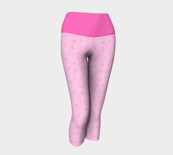 Cartoon Rose Yoga Capris with Pink Band