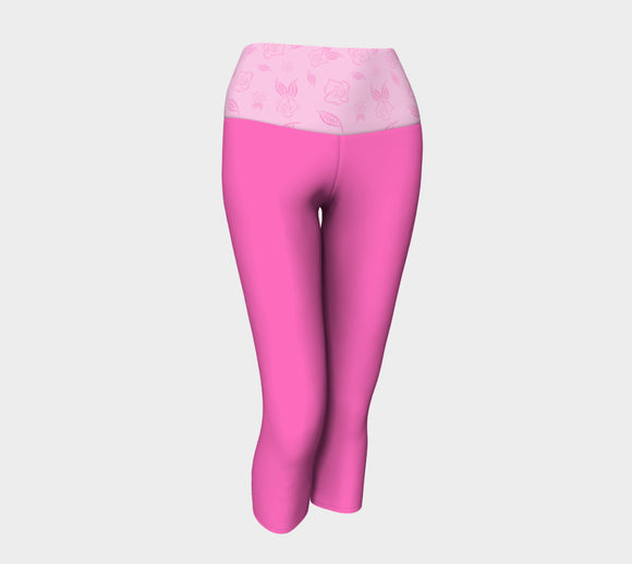 Pink Yoga Capris with Cartoon Rose Band