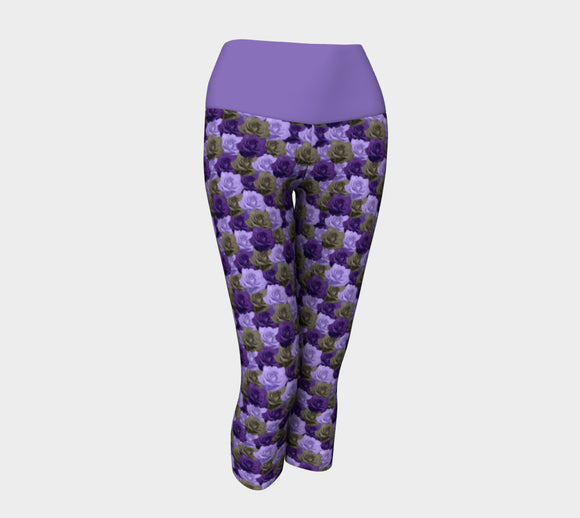 Roses Yoga Capris with Purple Band