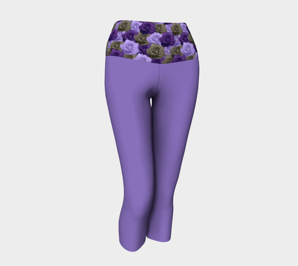 Purple Yoga Capris with Roses Band