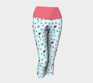 Under the Sea Yoga Capris with Peach Band