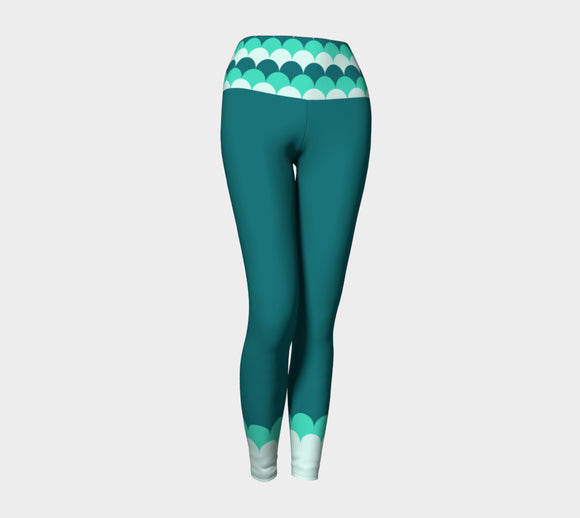 Teal Yoga Leggings with Mermaid Scales Band