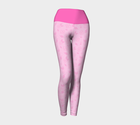 Cartoon Rose Yoga Leggings with Pink Band