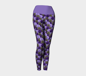 Roses Yoga Leggings with Purple Band