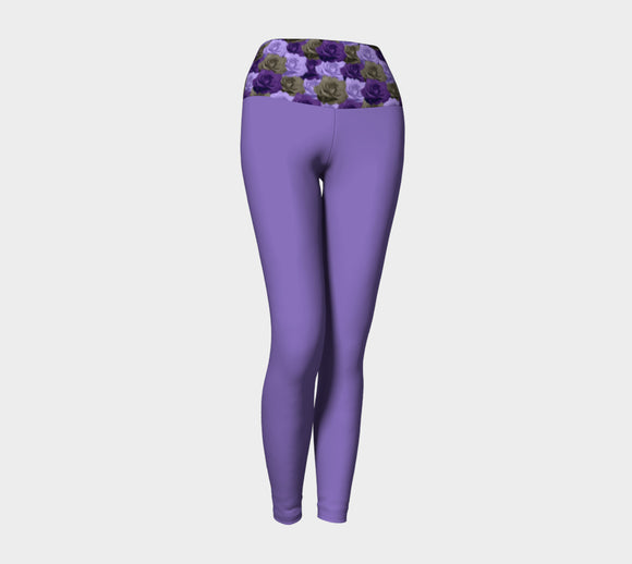 Purple Yoga Leggings with Roses Band