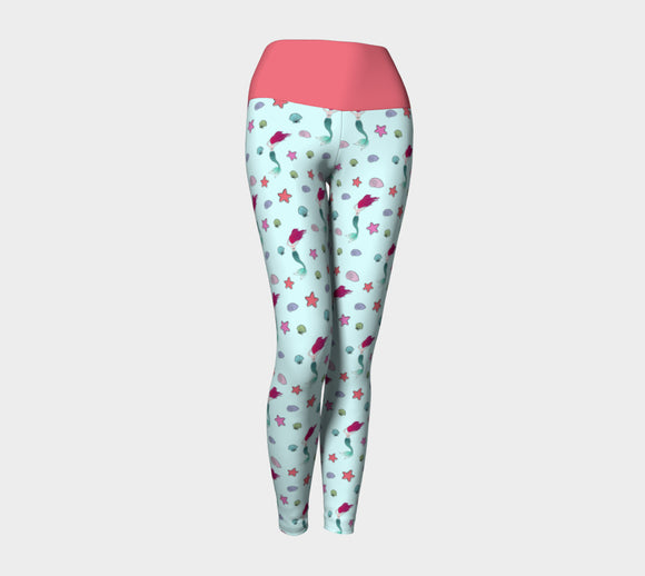 Under the Sea Yoga Leggings with Peach Band