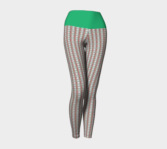 Classic Plaid Yoga Leggings with Green Band