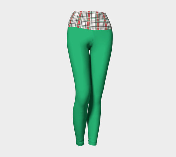 Green Yoga Leggings with Classic Plaid Band