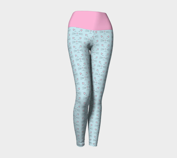 Pretty Kitty Yoga Leggings with Pink Band