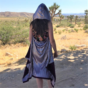 Hood Cape - Purple & Silver Pleated
