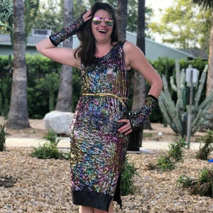 Faux Sequin Bodycon Dress - Disco Rainbow