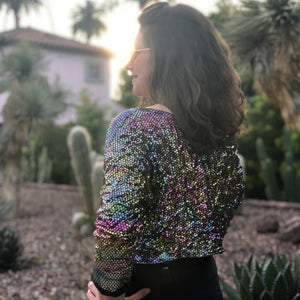 Faux Sequin Crop Jacket - Disco Rainbow