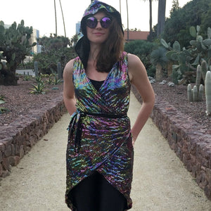 Faux Sequin Wrap Dress - Disco Rainbow