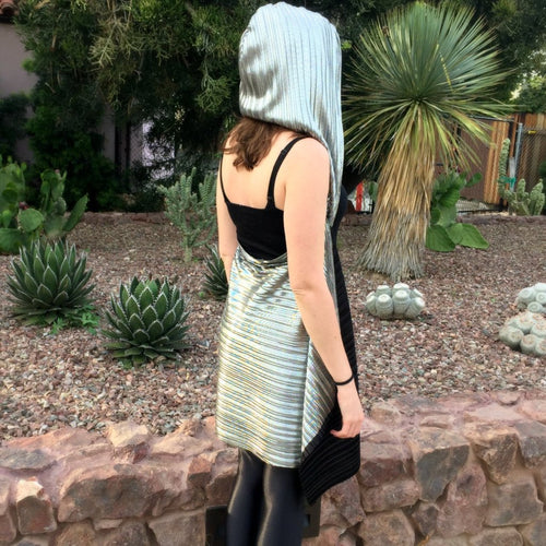 Hood Cape - Black & Silver Pleated